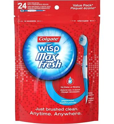 Purchase Colgate Max Fresh Wisp Disposable Mini Toothbrush, Peppermint - 24 Count at Amazon.com