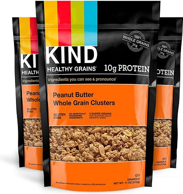 Purchase KIND Healthy Grains Clusters, Peanut Butter Whole Grain Granola, 10g Protein, Gluten Free, 11 Ounce Bags, 3 Count at Amazon.com