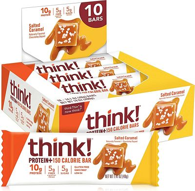 Purchase think! (thinkThin) Protein+ 150 Calorie Bars - Salted Caramel, 10g Protein, 5g Sugar, No Artificial Sweeteners, Gluten Free, GMO Free, 1.4 oz bar (10 Count - at Amazon.com