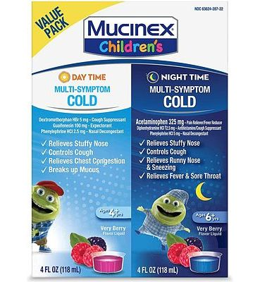 Purchase Cold & Cough, Mucinex Children's Multi-Symptom Day/Night Liquid, Very Berry, 8oz (2x4oz) at Amazon.com