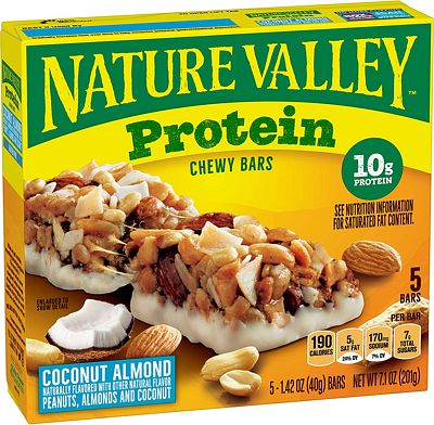 Purchase Nature Valley Chewy Granola Bar, Protein, Coconut Almond, Gluten Free, 5 Bars - 1.4 oz at Amazon.com