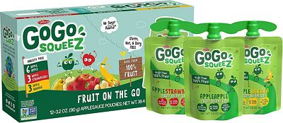 Purchase GoGo squeeZ Applesauce on the Go, Variety Pack (Apple/Banana/Strawberry), 3.2 Ounce (12 Pouches), Gluten Free, Vegan Friendly, Healthy Snacks, Unsweetened Applesauce, Recloseable, BPA Free Pouches at Amazon.com