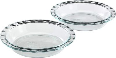 Purchase Pyrex Easy Grab Glass 9.5 Inch Pie Plate (2-Pack) at Amazon.com