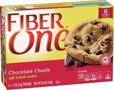 Purchase Fiber One Cookies, Soft Baked Chocolate Chunk Cookies, 6 Pouches, 6.6 oz at Amazon.com