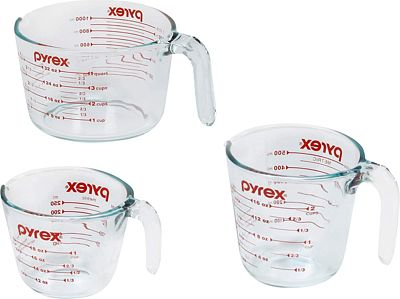 Purchase Pyrex Measuring Cups, 3-Piece, Clear at Amazon.com