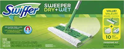 Purchase Swiffer Sweeper Dry and Wet Floor Mopping and Cleaning Starter Kit at Amazon.com