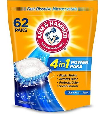 Purchase Arm & Hammer 2-in-1 Laundry Detergent Power Paks, 62 ct at Amazon.com