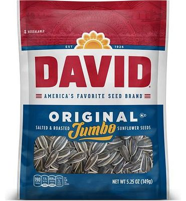 Purchase DAVID Roasted and Salted Original Jumbo Sunflower Seeds, Keto Friendly, 5.25 oz, 12 Pack at Amazon.com