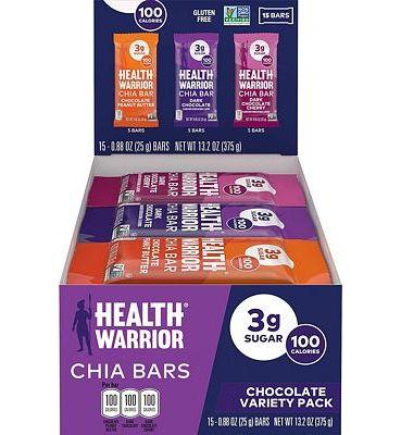 Purchase Health Warrior Chia Bars, Chocolate Variety Pack, Gluten Free, Vegan, 25g Bars, 15 Count at Amazon.com