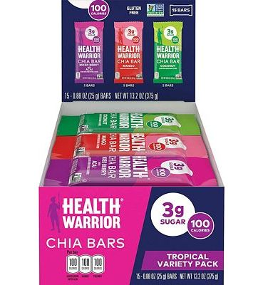 Purchase Health Warrior Chia Bars, Tropical Variety Pack, Gluten Free, Vegan, 25g Bars, 15 Count at Amazon.com