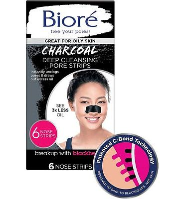 Purchase Bior Blackhead Removing and Pore Unclogging Deep Cleansing Pore Strip with Natural Charcoal, Cruelty Free, Vegan, Oil-Free & Non-Comedogenic, Great for Oily Skin (6 Count) at Amazon.com