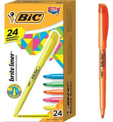 Purchase BIC Brite Liner Highlighter, Chisel Tip, Assorted Colors, 24-Count at Amazon.com