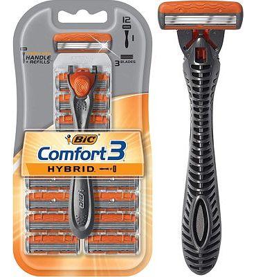 Purchase BIC Comfort 3 Hybrid Men's Razor, 1 Handle 12 Cartridges at Amazon.com