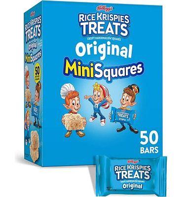 Purchase Kellogg's, Rice Krispies Treats Crispy Marshmallow Mini-Squares, Original, Single Serve, Display Box Caddy, 0.39 oz Bars(50 Count) at Amazon.com