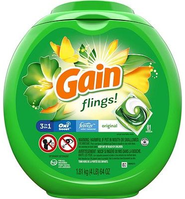 Purchase Gain flings! Liquid Laundry Detergent Pacs, Original, 81 Count at Amazon.com
