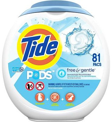 Purchase Tide Free and Gentle Laundry Detergent Pods, 81 Count, Unscented and Hypoallergenic for Sensitive Skin at Amazon.com