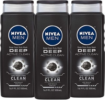 Purchase NIVEA Men DEEP Active Clean Body Wash - 8-hour Fresh Scent with Natural Charcoal - 16.9 fl. oz. Bottle (Pack of 3) at Amazon.com