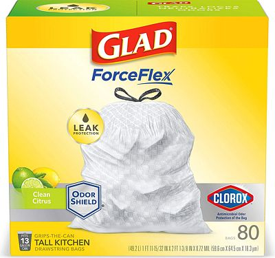 Purchase Glad OdorShield Tall Kitchen Antimicrobial Drawstring Trash Bags - Scented - 13 Gallon - 80 Count at Amazon.com