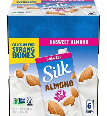 Purchase Silk Almond Milk Unsweetened Original 32 oz (Pack of 6) Shelf Stable, Unsweetened, Unflavored Dairy-Alternative Milk, Organic, Individually Packaged at Amazon.com