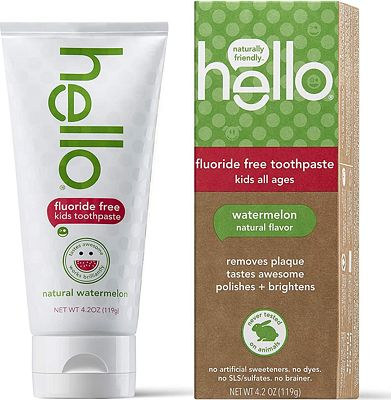 Purchase Hello Oral Care Kids Fluoride Free and SLS Free Toothpaste, Natural Watermelon, 4.2 Ounce at Amazon.com