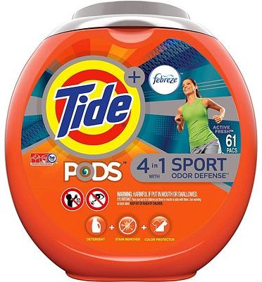 Purchase Tide PODS Laundry Detergent Liquid Pacs Plus Febreze Sport Odor Defense, Active Fresh Scent, 4 in 1 HE Turbo, 61 Count Tub at Amazon.com