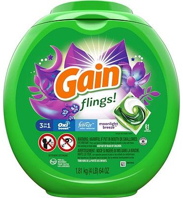 Purchase Gain flings! Laundry Detergent Pacs plus Aroma Boost, Moonlight Breeze Scent, HE Compatible, 81 Count at Amazon.com