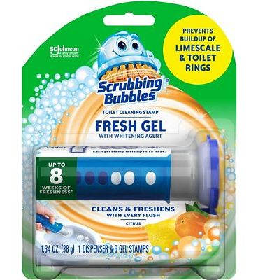 Purchase Scrubbing Bubbles Fresh Gel Toilet Cleaning Stamp, Citrus, Dispenser with 6 Stamps at Amazon.com