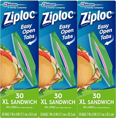 Purchase Ziploc Sandwich Bags, XL, 3 Pack, 30 ct at Amazon.com