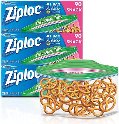 Purchase Ziploc Snack Bags, Snack, 3 Pack, 90 ct at Amazon.com