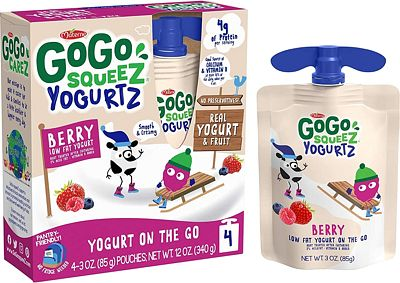 Purchase GoGo squeeZ YogurtZ, Berry, 3 Ounce (4 Pouches), Low Fat Yogurt, Gluten Free, Pantry-friendly, Recloseable, BPA Free Pouches at Amazon.com