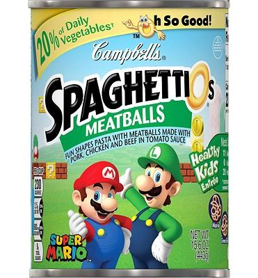 Purchase Campbell's SpaghettiOs Canned Pasta, Super Mario Bros.Shaped Pasta with Meatballs, 15.6 oz.Can (Pack of 12) at Amazon.com