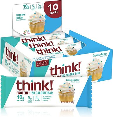 Purchase Think! (thinkThin) Protein+ 150 Calorie Bars - Cupcake Batter, 10g Protein, 5g Sugar, No Artificial Sweeteners, Gluten Free, GMO Free*, 1.4 oz bar (10 Count - at Amazon.com