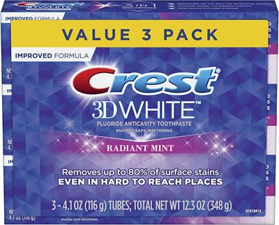Purchase Crest 3D White Toothpaste Radiant Mint (3 Count of 4.1 oz Tubes), 12.3 oz at Amazon.com