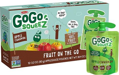 Purchase GoGo squeeZ Applesauce on the Go, Apple Cinnamon, 3.2 Ounce (12 Pouches), Gluten Free, Vegan Friendly, Healthy Snacks, Unsweetened Applesauce, Recloseable, BPA Free Pouches at Amazon.com