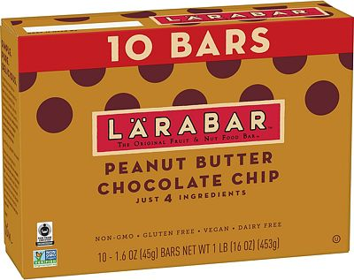 Purchase Larabar Gluten Free Bar, Peanut Butter Chocolate Chip, 1.6 oz Bars (10 Count), Whole Food Gluten Free Bars, Dairy Free Snacks at Amazon.com