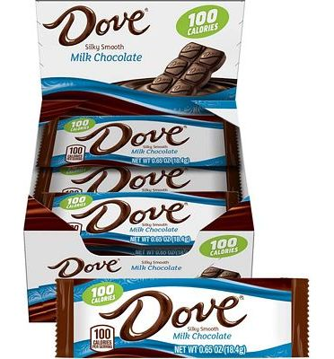 Purchase DOVE 100 Calories Milk Chocolate Candy Bar 0.65-Ounce Bar 18-Count Box at Amazon.com