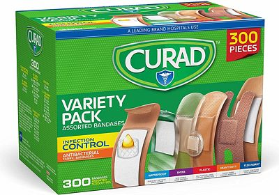 Purchase Curad Assorted Bandages Variety Pack 300 Pieces, Including Antibacterial, Heavy Duty, Fabric, and Waterproof Bandages at Amazon.com