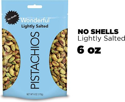 Purchase Wonderful Pistachios, No Shells, Roasted and Lightly Salted, 6 Ounce Resealable Bag at Amazon.com