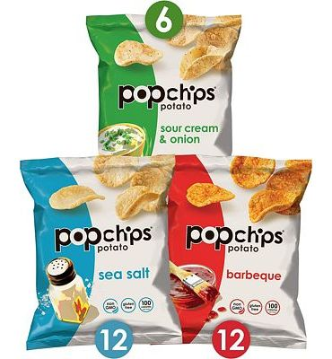 Purchase Popchips Potato Chips Variety Pack Single Serve 0.8 oz Bags (Pack of 30), 3 flavors: 12 Sea Salt, 12 BBQ, 6 Sour Cream & Onion at Amazon.com