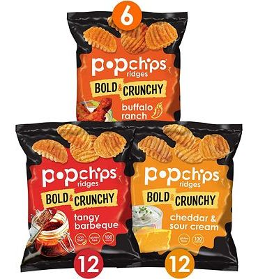 Purchase Popchips Ridges Potato Chips Variety Pack Single Serve 0.8 oz Bags (Pack of 30) 3 Flavors at Amazon.com