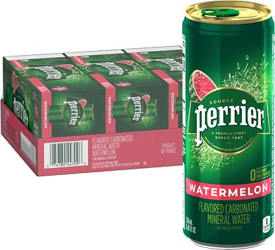 Purchase Perrier Watermelon Flavored Carbonated Mineral Water, 8.45 fl oz. Slim Cans (30 Count) at Amazon.com