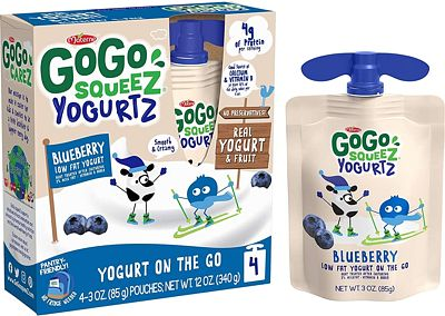 Purchase GoGo squeeZ YogurtZ, Blueberry, 3 Ounce (4 Pouches), Low Fat Yogurt, Gluten Free, Pantry-friendly, Recloseable, BPA Free Pouches at Amazon.com