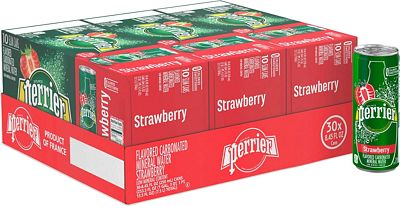 Purchase Perrier Strawberry Flavored Carbonated Mineral Water, 8.45 Fl Oz (30 Pack) Slim Cans at Amazon.com
