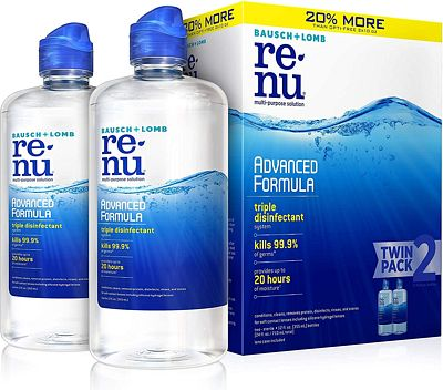 Purchase Bausch + Lomb renu Lens Solution Advanced Triple Disinfect Formula Multi-Purpose, 12 Ounce Bottle Twinpack at Amazon.com