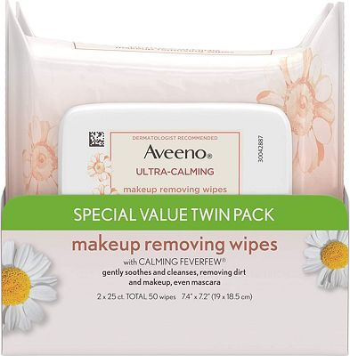 Purchase Aveeno Ultra-Calming Cleansing Oil-Free Makeup Removing Wipes for Sensitive Skin, 25 Count, Twin Pack at Amazon.com