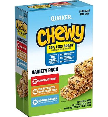 Purchase Quaker Chewy Granola Bars, 25% Less Sugar 3 Flavor Variety Pack (58 Bars) at Amazon.com