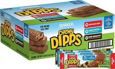 Purchase Quaker Chewy Dipps Cholatey Covered Granola Bars, 3 Flavor Variety Pack (48 Bars) at Amazon.com