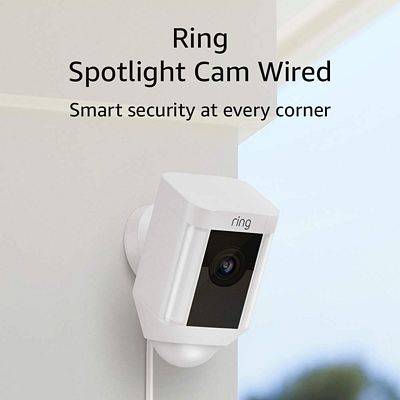 Purchase Ring Spotlight Cam Wired: Plugged-in HD security camera with built-in spotlights, two-way talk and a siren alarm, Works with Alexa at Amazon.com