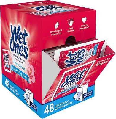 Purchase Wet Ones Antibacterial Hand Wipes Singles, Fresh Scent, 48 Count at Amazon.com