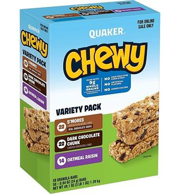 Purchase Quaker Chewy Granola Bars, 3 Flavor Variety Pack (58 Bars) at Amazon.com